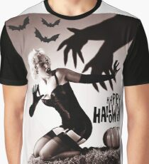 Pin up blond posing with big hands in shadow and bats Graphic T-Shirt