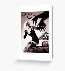 Pin up blond posing with big hands in shadow and bats Greeting Card