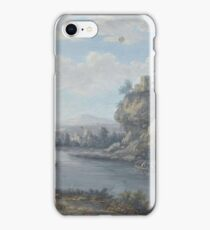 A River Landscape With Anglers In The Foreground And Travellers On A Path Beyond by Attributed to Christoph Ludwig Agricola iPhone Case/Skin