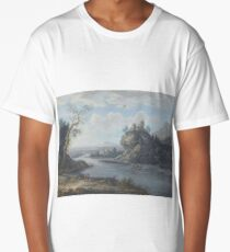 A River Landscape With Anglers In The Foreground And Travellers On A Path Beyond by Attributed to Christoph Ludwig Agricola Long T-Shirt