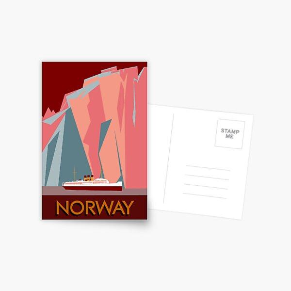 Norway fjords retro vintage style cruise travel  Postcard