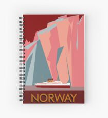 Norway fjords retro vintage style cruise travel  Spiral Notebook