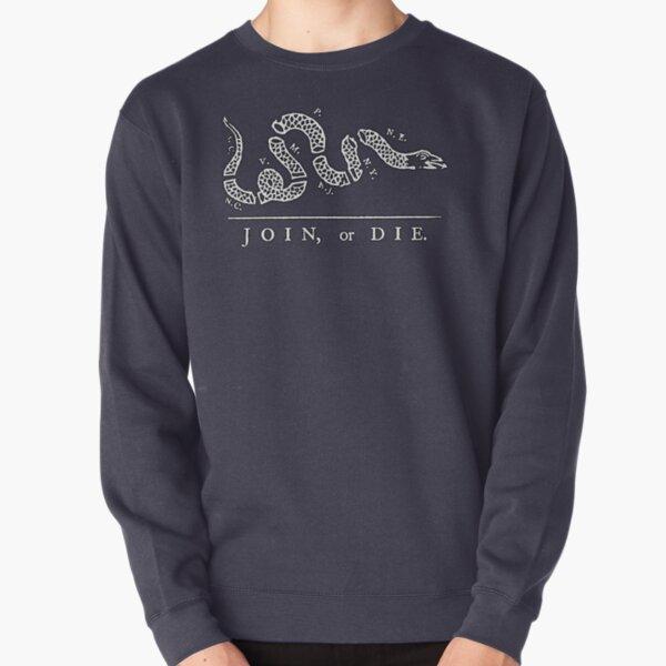 Join, or Die. WHITE on DARK BLUE, Political cartoon, Benjamin Franklin. Pullover Sweatshirt