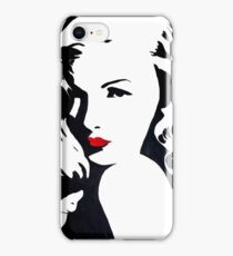 """POP ART """"Veronica"""" black and white with red lips, old Hollywood, g iPhone Case/Skin"""