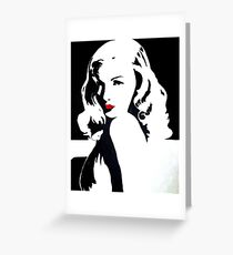 "POP ART ""Veronica"" black and white with red lips, old Hollywood, g Greeting Card"