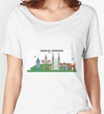 France, Strasbourg City Skyline Design Women's Relaxed Fit T-Shirt