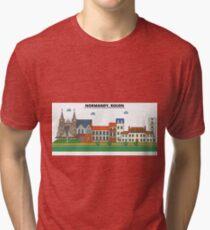 France, Rouen City Skyline Design Tri-blend T-Shirt