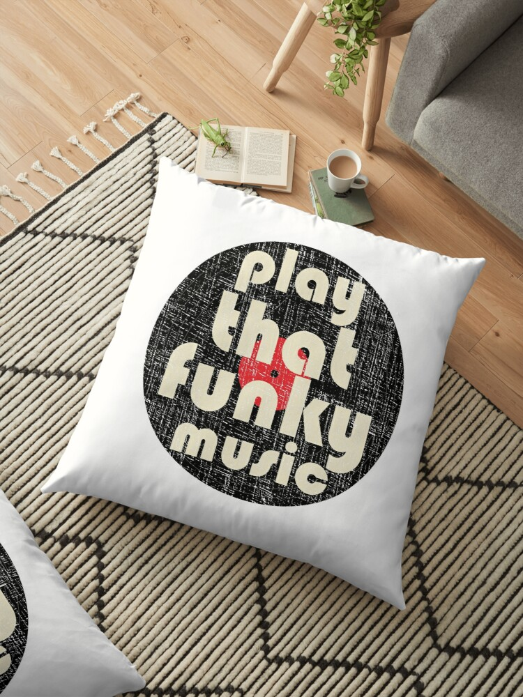 'PLAY THAT FUNKY MUSIC Vintage 1970 Design' Floor Pillow by webdango