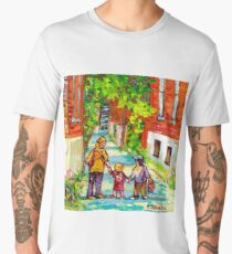 LANEWAY VERDUN MONTREAL PAINTING WALKING HOME BEAUTIFUL SUMMER DAY CITY SCENE CANADIAN ART CAROLE SPANDAU Men's Premium T-Shirt