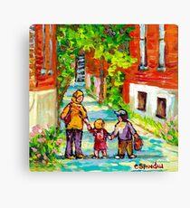 LANEWAY VERDUN MONTREAL PAINTING WALKING HOME BEAUTIFUL SUMMER DAY CITY SCENE CANADIAN ART CAROLE SPANDAU Canvas Print