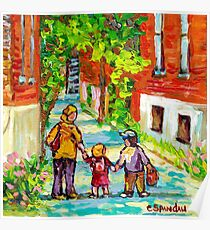 LANEWAY VERDUN MONTREAL PAINTING WALKING HOME BEAUTIFUL SUMMER DAY CITY SCENE CANADIAN ART CAROLE SPANDAU Poster
