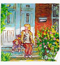 VERDUN MONTREAL PAINTING CANADIAN ART DUPLEX DOORS PORCH SCENE SITTING ON STEPS CAROLE SPANDAU Poster