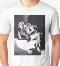 Pin up blond girl posing with Halloween spooky stories book T-Shirt
