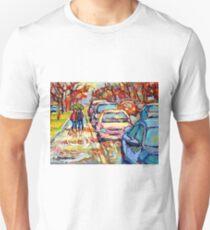 VERDUN LASALLE RAINY DAY PAINTING CITY IN THE RAIN UMBRELLA STROLL QUEBEC STREET T-Shirt