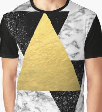 Delph - abstract triangles and marble painting gold black and white minimalist nursery dorm college  Graphic T-Shirt