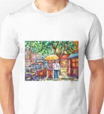 VERDUN RAINY URBAN CANADIAN LANDSCAPE PAINTING MONTREAL STREET STROLLING BY SHOPS CAROLE SPANDAU ART T-Shirt