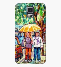 VERDUN RAINY URBAN CANADIAN LANDSCAPE PAINTING MONTREAL STREET STROLLING BY SHOPS CAROLE SPANDAU ART Case/Skin for Samsung Galaxy