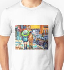 THE GIRL WITH GREEN UMBRELLA STROLLS VERDUN RAINY STREETS RUE WELLINGTON CANADIAN PAINTING CAROLE SPANDAU T-Shirt