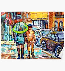 THE GIRL WITH GREEN UMBRELLA STROLLS VERDUN RAINY STREETS RUE WELLINGTON CANADIAN PAINTING CAROLE SPANDAU Poster