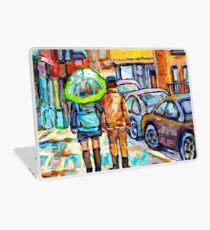 THE GIRL WITH GREEN UMBRELLA STROLLS VERDUN RAINY STREETS RUE WELLINGTON CANADIAN PAINTING CAROLE SPANDAU Laptop Skin