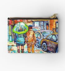 THE GIRL WITH GREEN UMBRELLA STROLLS VERDUN RAINY STREETS RUE WELLINGTON CANADIAN PAINTING CAROLE SPANDAU Studio Pouch