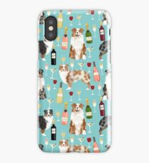 Australian Shepherd blue and red merle wine cocktails yappy hour pattern dog breed iPhone Case/Skin