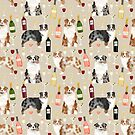 Australian Shepherd blue and red merle wine cocktails yappy hour pattern dog breed by PetFriendly
