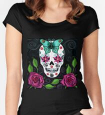 Skull With Teal Butterfly And Red Roses Women's Fitted Scoop T-Shirt