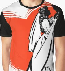 Black and white contour image of a dancing bride and groom Graphic T-Shirt