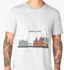 Germany, Mainz City Skyline Design Men's Premium T-Shirt