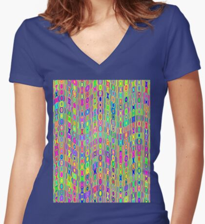 Abstract Meadow Fitted V-Neck T-Shirt