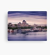 Fairmont Le Chateau Frontenac grand hotel and St. Lawrence river Quebec City skyline at dusk art print Canvas Print