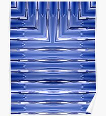 Art Deco Geometric Pale Blue and White Stripes  Poster