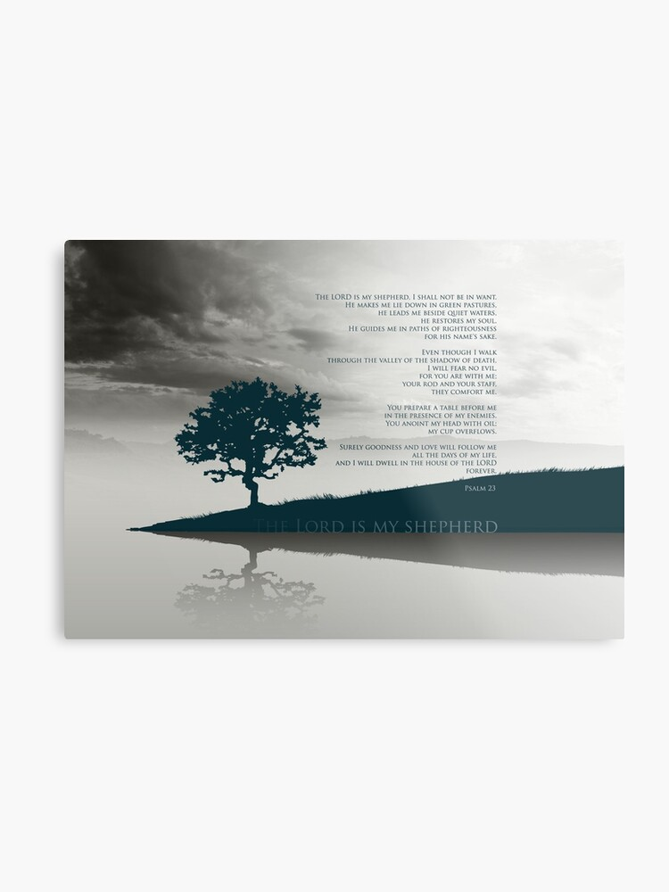 Psalm 23 Bible Verse The Lord Is My Shepherd I Lack Nothing On Landscape 2 Tones Gray And Metallic Blue Metal Print