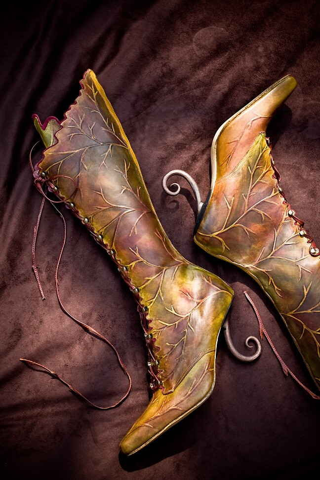High green leaf boots by Pendragon Shoes