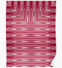 Art Deco Geometric Bright Pink and White Stripes  Poster