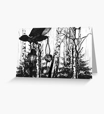 Crow in the Forest Illustration Greeting Card