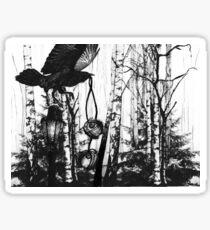 Crow in the Forest Illustration Sticker