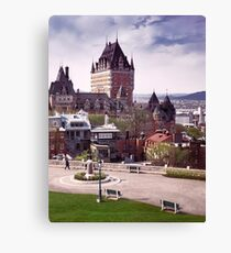 Fairmont Le Chateau Frontenac in Quebec city Canada under dramatic sky in daytime art print Canvas Print