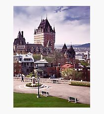 Fairmont Le Chateau Frontenac in Quebec city Canada under dramatic sky in daytime art print Photographic Print