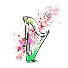 Harp - colourful original artwork by ArtyMargit