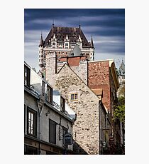 Rooftops on historic street Sous Le Fort of Old Quebec City with Fairmont Le Château Frontenac in the background art print Photographic Print