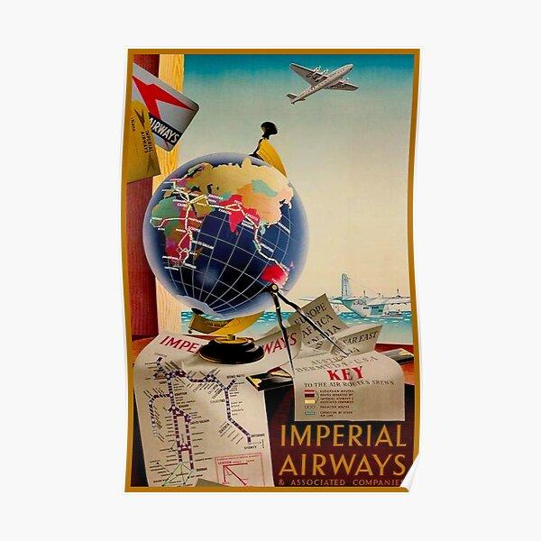 IMPERIAL AIRWAYS : Vintage Airline Advertising Print Poster