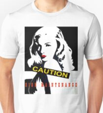 CAUTION High Maintenance! Black and white pop art, Veronica red lips T-Shirt