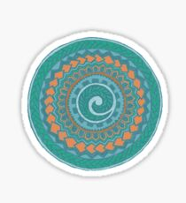 Ornate Tribal Polynesian Zentangle Mandala Tattoo (vintage blue) Sticker