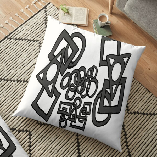 Doodle circles, squares, rectangles charcoal black and white pattern Floor Pillow