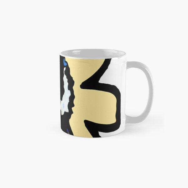 Retro pretty daisy yellow ochre black floral Classic Mug