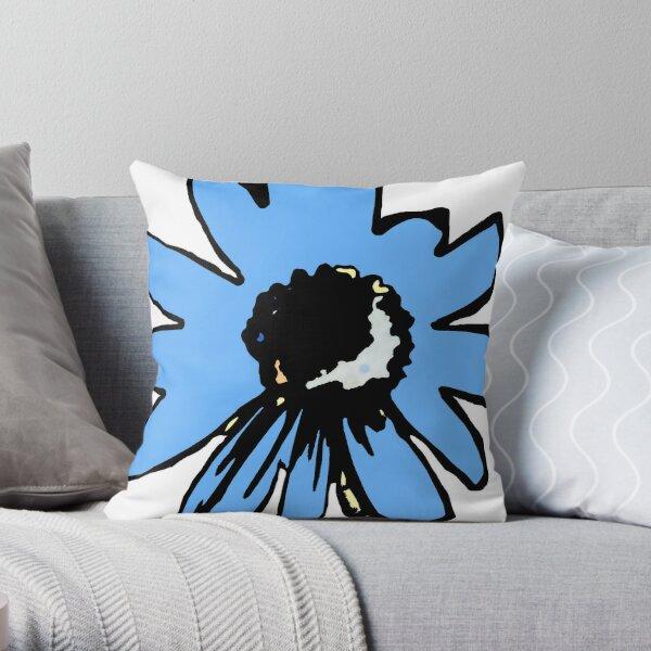 Retro pretty daisy blue black floral Throw Pillow