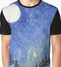 Watercolor nightscape with moon and trees Graphic T-Shirt