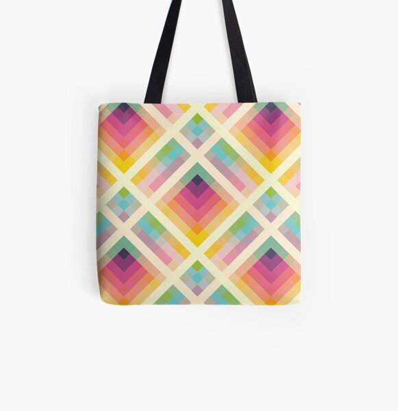 Retro Rainbow All Over Print Tote Bag